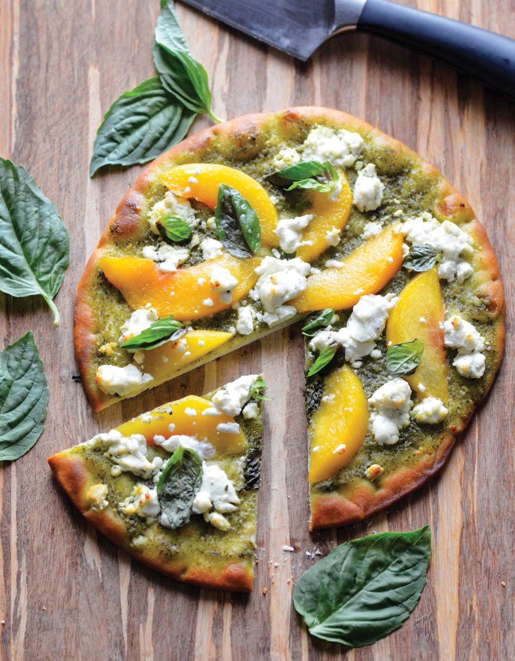 APRICOT, BASIL, AND GOAT CHEESE PIZZA
