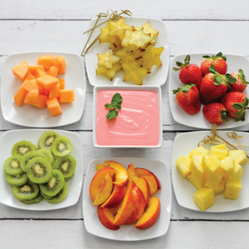 FRUIT KEBABS WITH 		    STRAWBERRY YOGURT DIP